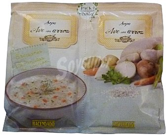 Hacendado Sopa deshidratada ave arroz 2 x 85 g