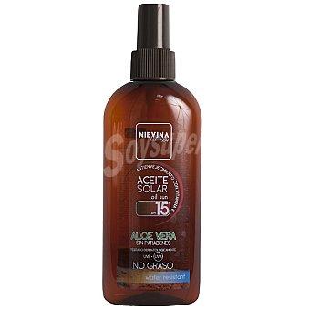 NIEVINA Aceite solar aloe vera FP-15 antienvejecimiento con vitamina E resistente al agua Spray 200 ml