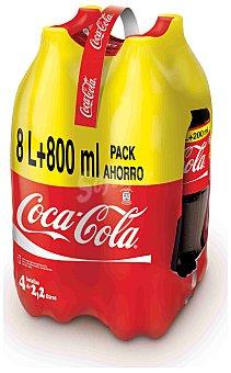 Coca-Cola Refresco de cola normal  Pack 4 botellas x 2.2 l