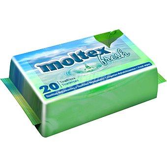 Moltex Toallitas Fresh refrescantes antibacterianas  Paquete 20 unidades