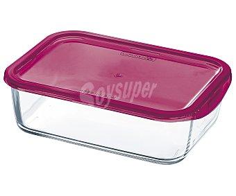 Luminarc Juego de 3 taper herméticos de vidrio con tapa de plástico color fucsia, serie Keep n Box, 36, 37 y 189 centilitros Pack de 3 unidades