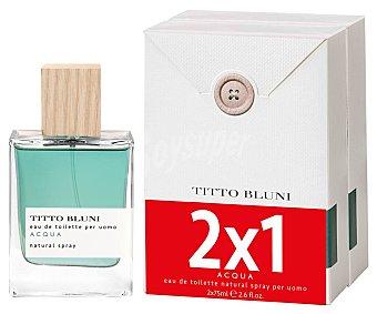 TITTO BLUNI Acqua Colonia para hombre con vaporizador en spray TITO BLUNI Acqua 2 x 75 ml. 2 x 75 ml