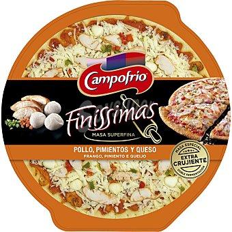 Campofrío Finíssimas pizza masa superfina con pollo, pimientos y queso Envase 335 g
