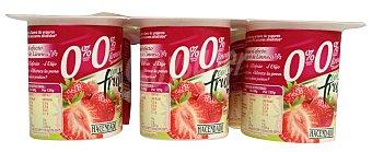 Hacendado Yogur desnatado trozos fresas Pack 6 x 125 g - 750 g