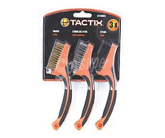 TACTIX Lote de 3 Minicepillos Fabricados en Nylon 1 Unidad