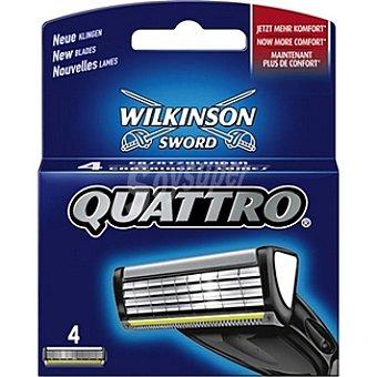 Wilkinson Recambio de maquinilla de afeitar Quattro Estuche 4 unidades