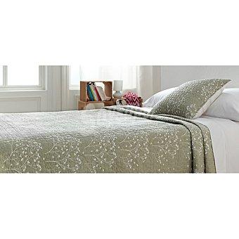 CASACTUAL SD 2558 Colcha bouti con bordado de ramitas en color tostado para cama 150 cm