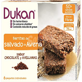 Dukan Barritas de salvado de avena con sabor a chocolate y avellanas Envase 6 unidades