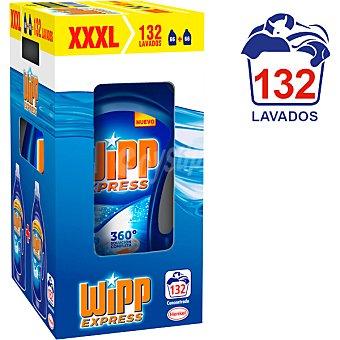 Wipp Express detergente máquina líquido gel azul quitamanchas activo caja 132 lavados pack 2 botella 66 dosis