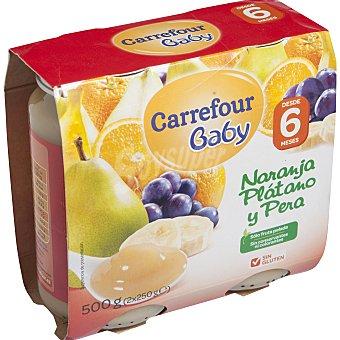 Carrefour Baby Tarrito de naranja, plátano y pera a partir de 6º mes Pack 2x250 g