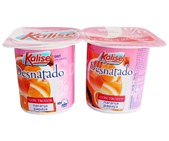 Kalise Yogur Desnatado con Papaya-Naranja 4 Unidades de 125 Gramos