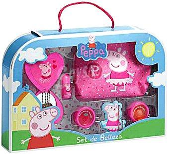 PEPPA PIG Lote infantil cosmética (neceser + espejo + 2 sombras de ojos + brillo labial + 1 clip pelo) 1 unidad