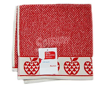 AUCHAN Paño de cocina de rizo, estampado color rojo, 50x50 centímetros 1 Unidad.