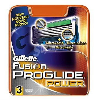 Gillette Recambio cargador afeitar 5 hojas power fusion proglide Paquete 3 u