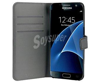Qilive Funda con tapa, negra, compatible con Samsung Galaxy S7 7 funda