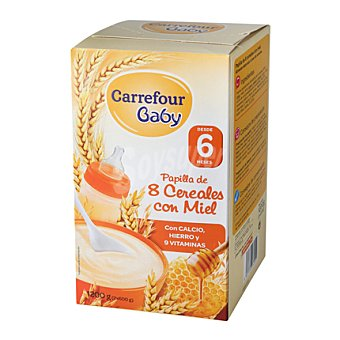Carrefour Baby Papilla 8 cereales con miel Pack 2x600 g