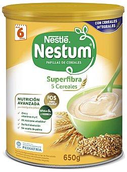 Nestum Nestlé Papilla con 5 cereales integrales superfibra sin azúcares añadidos a partir 6 meses Lata 650 g