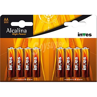 INVES HIGH POWER Pila super alcalina AA (lr6) 1,5 voltios blister 8 unidades