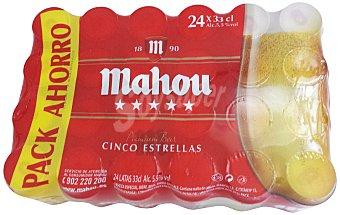 Mahou Cerveza 5 Estrellas Pack 24 Latas de 33 Centilitros