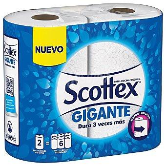 Scottex Papel de cocina gigante Paquete 2 rollos (equivalente a 6 rollos)