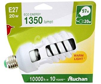 Auchan Bombilla bajo consumo espiral 20 Watios, casquillo E27 (grueso), luz cálida 1 unidad