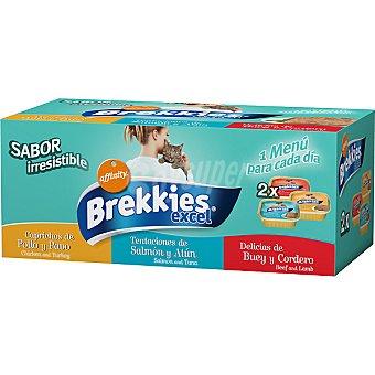 AFFINITY BREKKIES EXCEL Para gato surtido 3 sabores pack 6 tarrina 100 g pack 6 tarrina 100 g