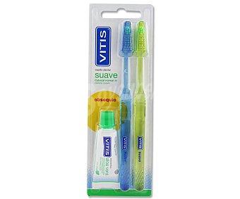 VITIS Cepillo de dientes con cabezal normal y dureza suave 2 unidades + obsequio dentífrico 15 mililitros