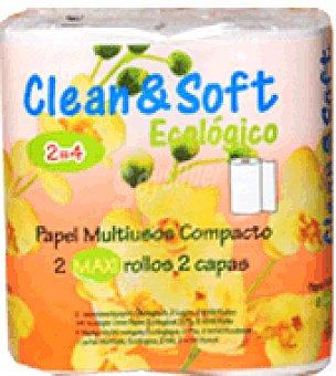 Clean soft Papel cocina multiusos ecológico 2 rollos