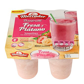 MERCADER Batifrutt fresa/platano Pack de 4x200 g
