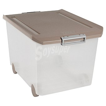 TATAY Caja Multiusos con tapa marrón y ruedas 60 l 60 l