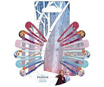 FROZEN 2 Pinzas metálicas tipo clic clac con diseño de los personajes de la película 12 uds