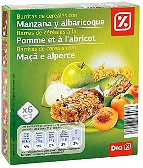 DIA Barritas de cereales con manzana y albaricoque Estuche 150 gr