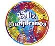 Plato llano desechable Feliz cumpleaños, 23 centímetros de diámetro 8 unidades Partygram