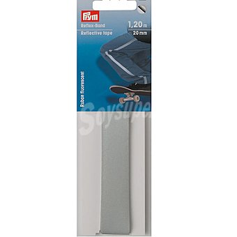 PRYM Cinta reflectante autoadhesiva en color plata de 1,20 m x 20 mm