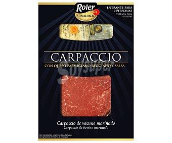 Roler Carpaccio de vacuno marinado, con queso parmigiano reggiano y salsa Summum Paquete 110 g