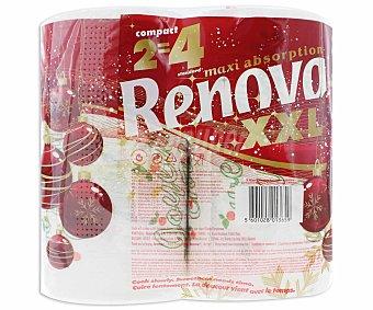 Renova Rollos de papel para cocina de color blanco con decorado navideño, doble capa y tamaño XXL 2 unidades