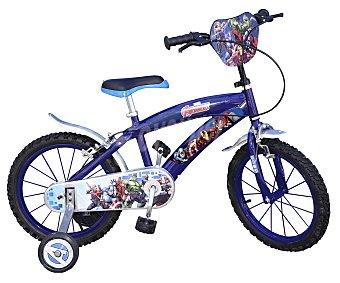 TOIMSA Bicicleta infantil de 16 pulgadas con diseño de Los Vengadores de Marvel, cuadro de acero, guardabarros delantero y trasero, frenos Caliper y ruedines 1 unidad