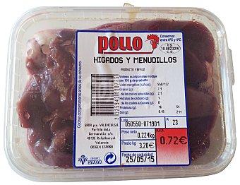 VARIOS Pollo hígado menudillos fresco Tarrina 220 g peso aprox.