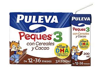 Puleva Peques Leche de crecimiento 3 con cereales y cacao Pack 3 x 200 ml