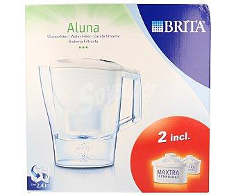 Brita Jarra filtrante modelo Aluna color blanco, capacidad de 2,4 litros, incluye 2 filtros Maxtra (150 litros/filtro) 1 unidad