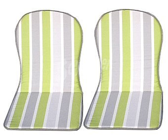 Productos Económicos Alcampo Cojínes para sillas con respaldo alto de rayas verdes y grises 2 unidades