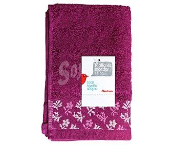 Auchan Toalla 100% algodón para tocador, estampado jacquard color rosa fucsia, 30x50 centímetros 1 Unidad