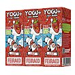 Yogur líquido sabor fresa Pack 3 bricks de 200 ml Feiraco