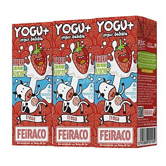 Feiraco Yogur líquido sabor fresa Pack 3 bricks de 200 ml
