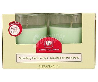 Cristalinas Ambientador vela aroma orquídea y flores verdes 30 horas Pack de 2 unidades