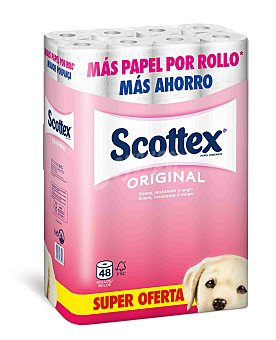 SCOTTEX Papel higiénico normal  paquete 48 rollos