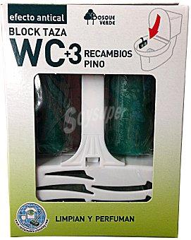 Bosque Verde Block taza wc completo + 3 recambios pino Caja 120 g
