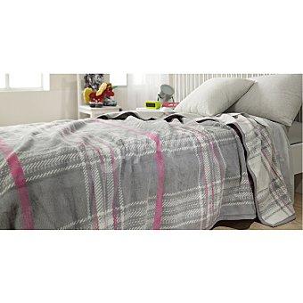 CASACTUAL manta estampada en color gris y rosa para camas de 135 cm