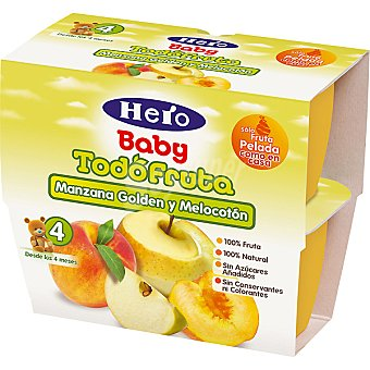 Hero Baby Tarrito manzana golden y melocotón Fruta pack 4 x 100 g estuche 400 g