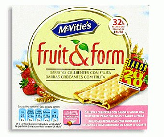 Fruit&form Barritas de Galleta Yogur y Fresa 213 Gramos